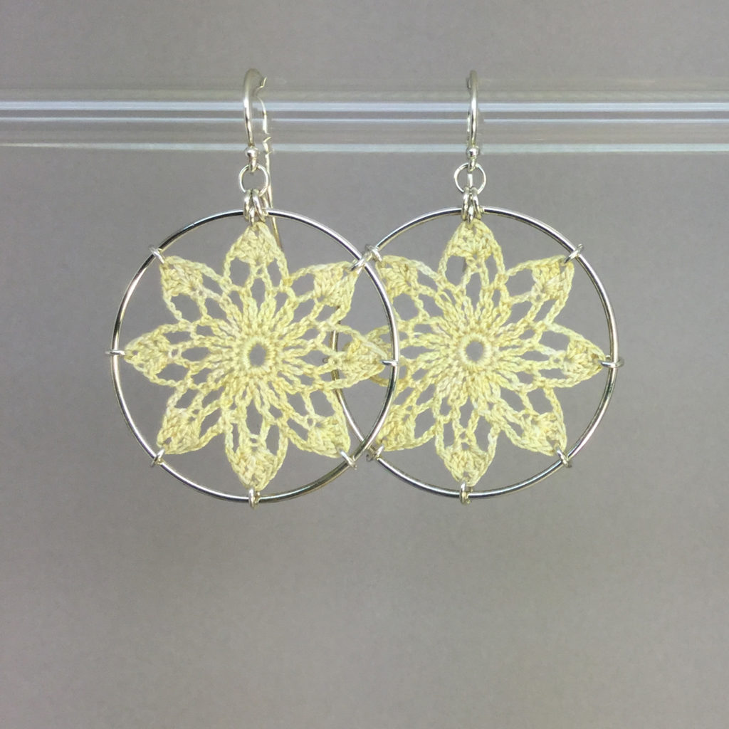 Tavita earrings, silver, ivory thread