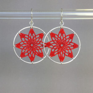 Tavita earrings, silver, red thread
