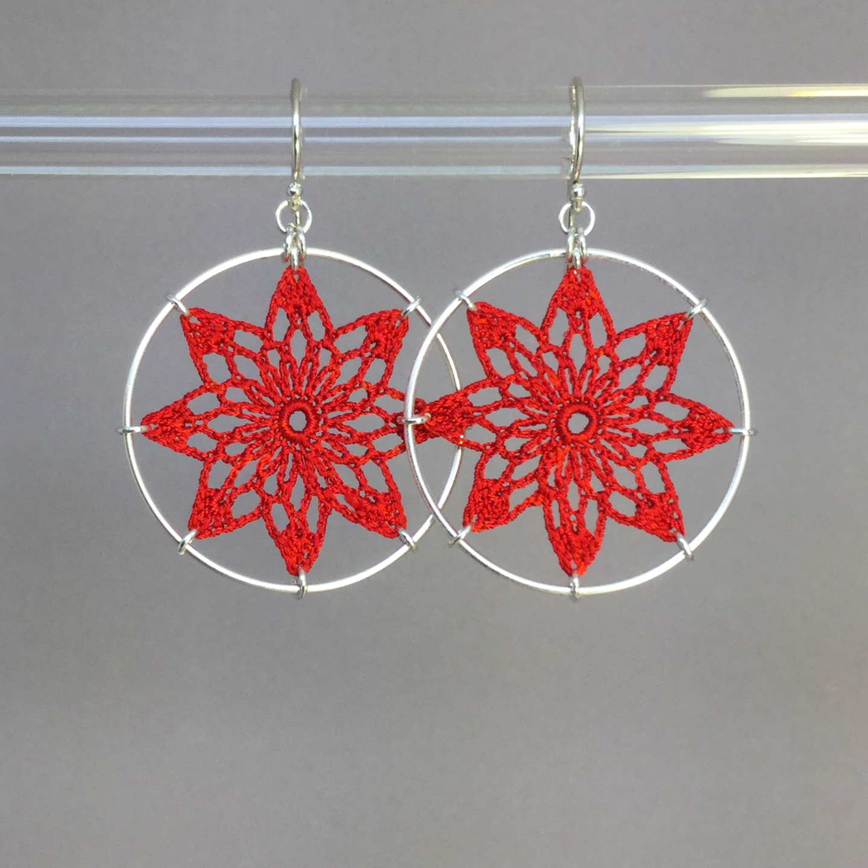 Tavita earrings, silver, red thread
