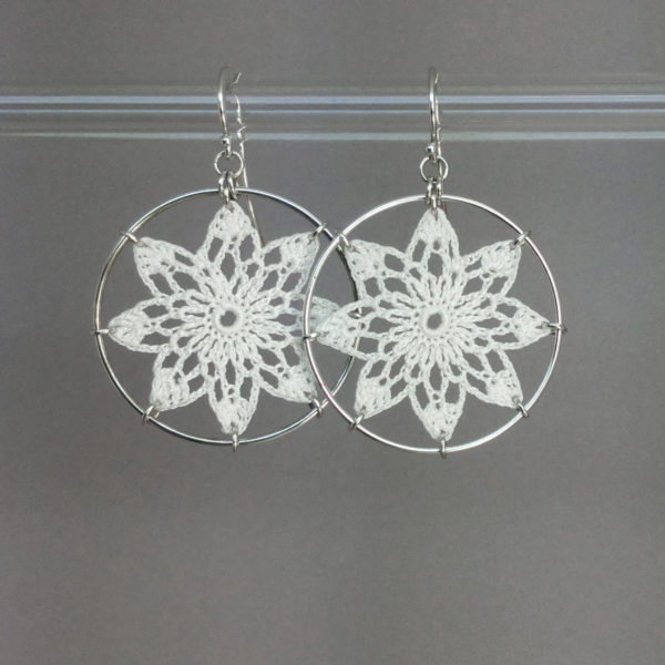 Tavita earrings, silver, white thread