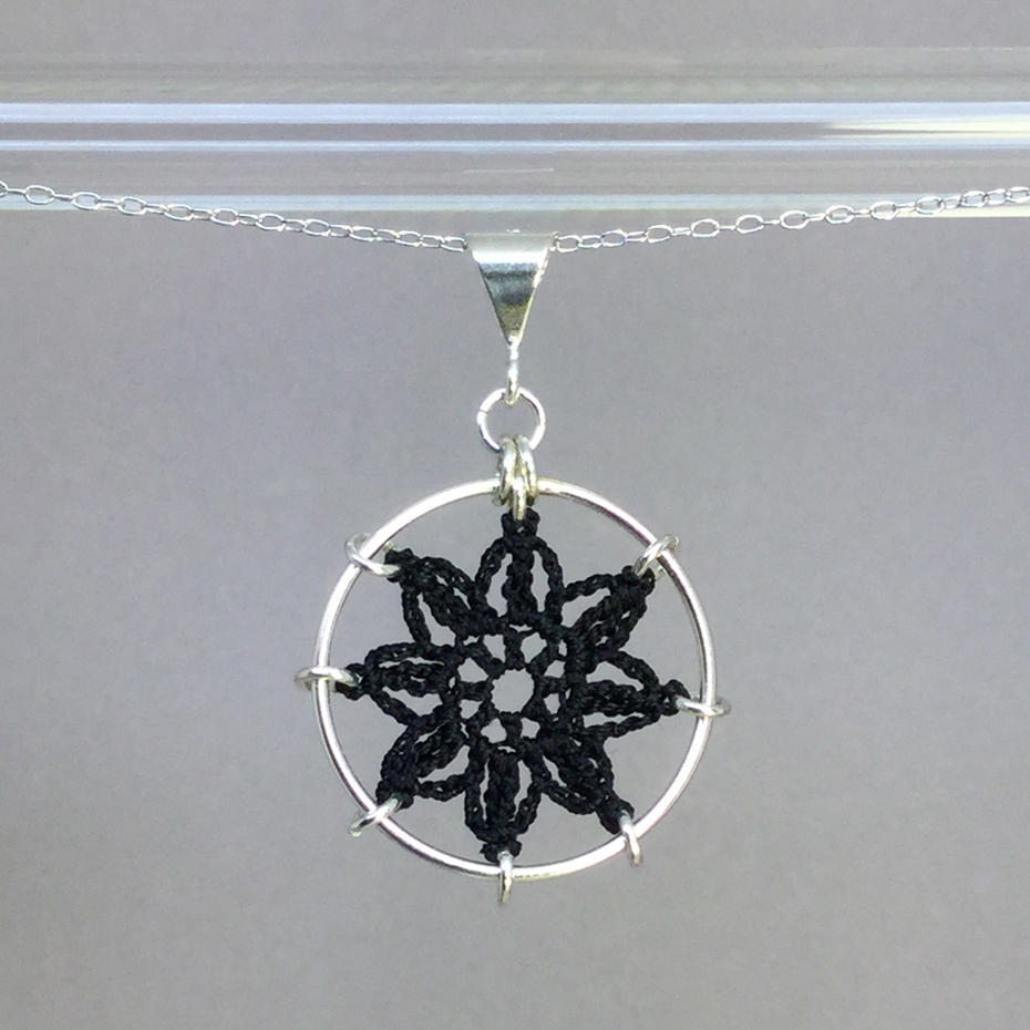Compass Rose necklace, silver, black thread