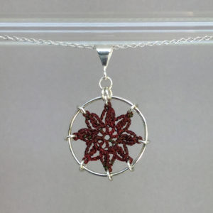 Compass Rose necklace, silver, chile thread