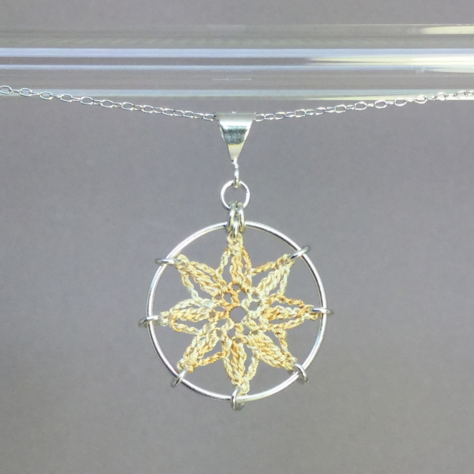 Compass Rose necklace, silver, french vanilla thread