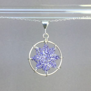 Compass Rose necklace, silver, lilac thread