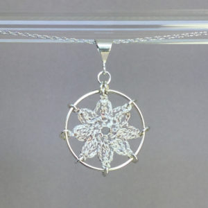 Compass Rose necklace, silver, pearly thread