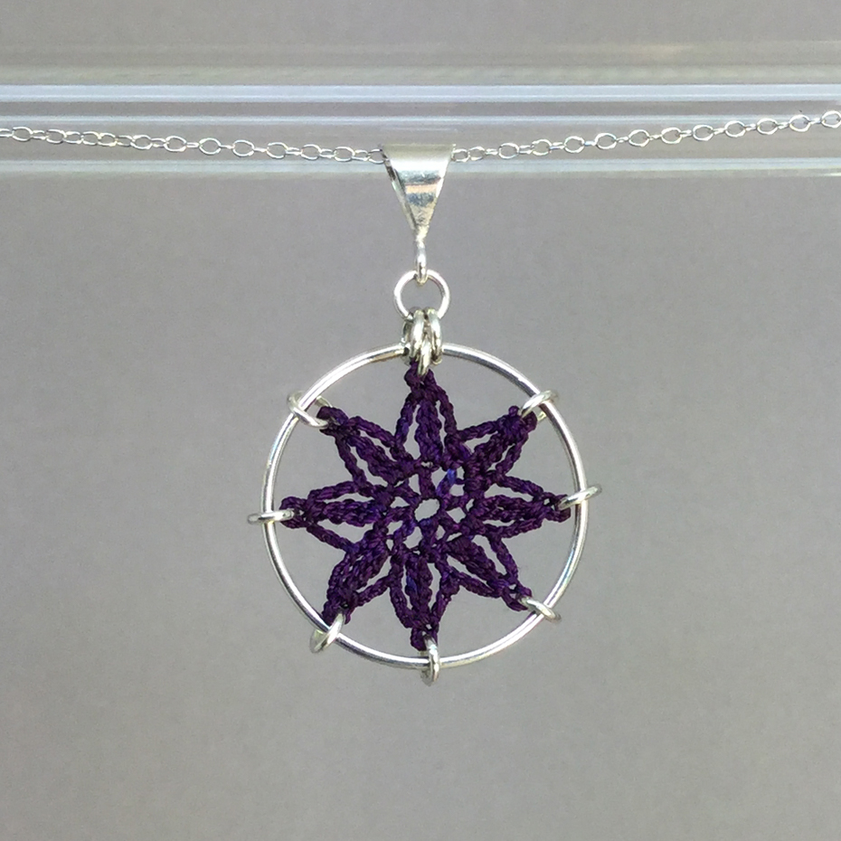 Compass Rose necklace, silver, purple thread