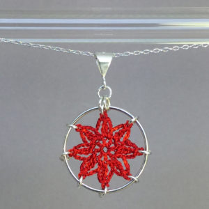 Compass Rose necklace, silver, red thread