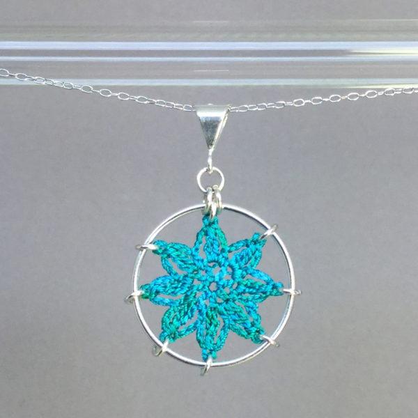 Compass Rose necklace, silver, shamrock green thread