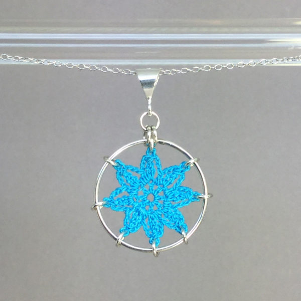 Compass Rose necklace, silver, turquoise thread