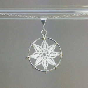 Compass Rose necklace, silver, white thread