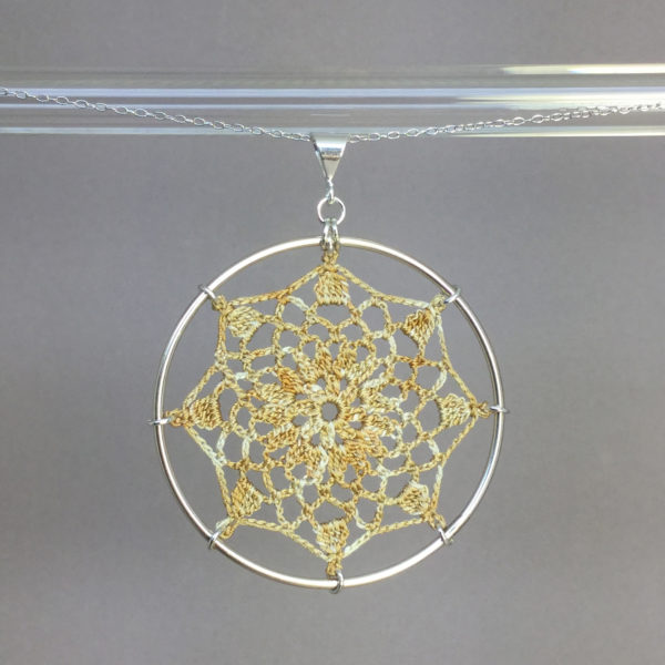 Mandala necklace, silver, french vanilla thread