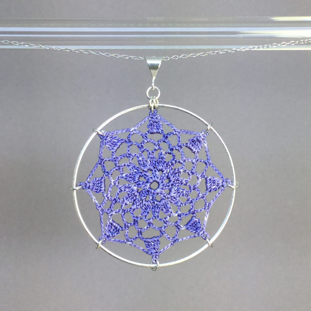 Mandala necklace, silver, lilac thread