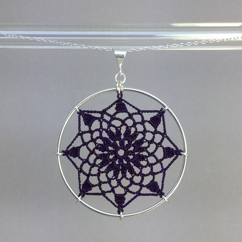 Mandala necklace, silver, purple thread