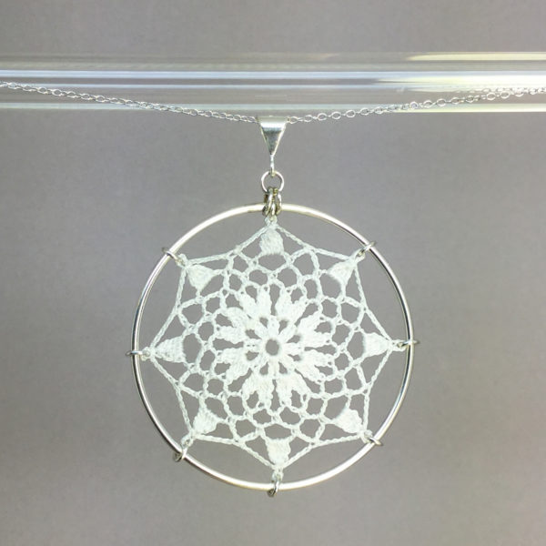 Mandala necklace, silver, white thread
