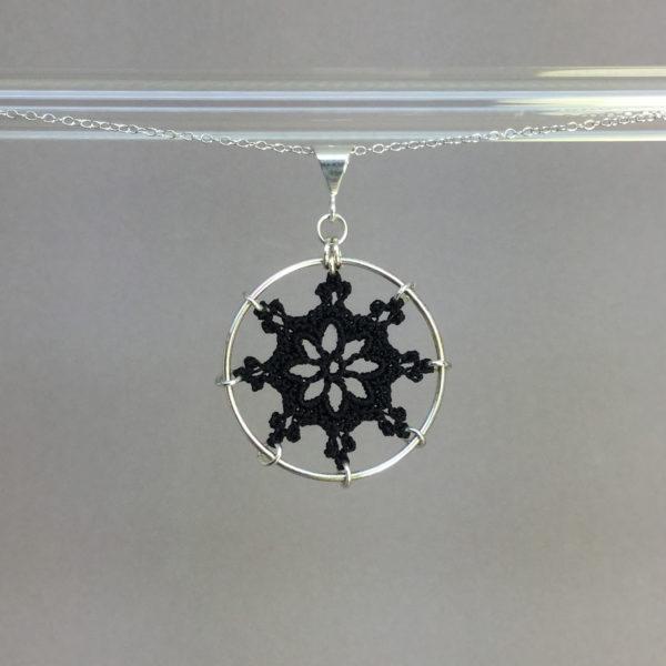 Nautical necklace, silver, black thread