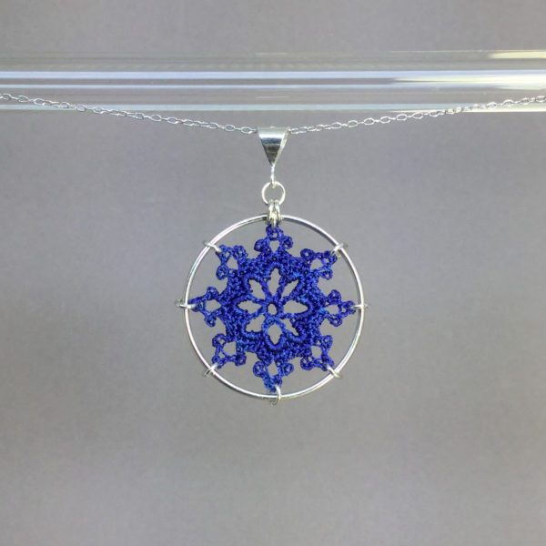 Nautical necklace, silver, blue thread