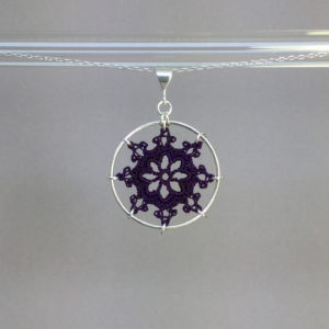 Nautical necklace, silver, purple thread