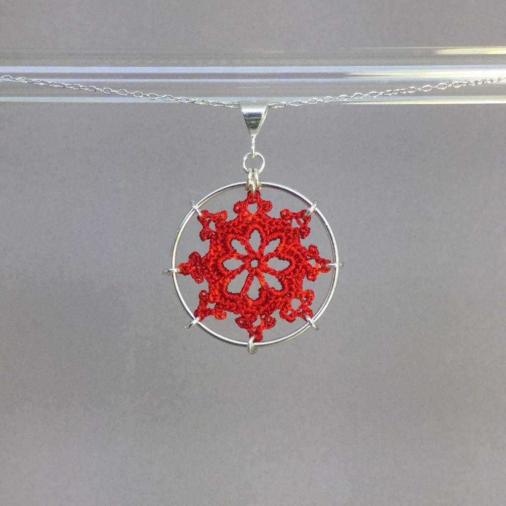 Nautical necklace, silver, red thread