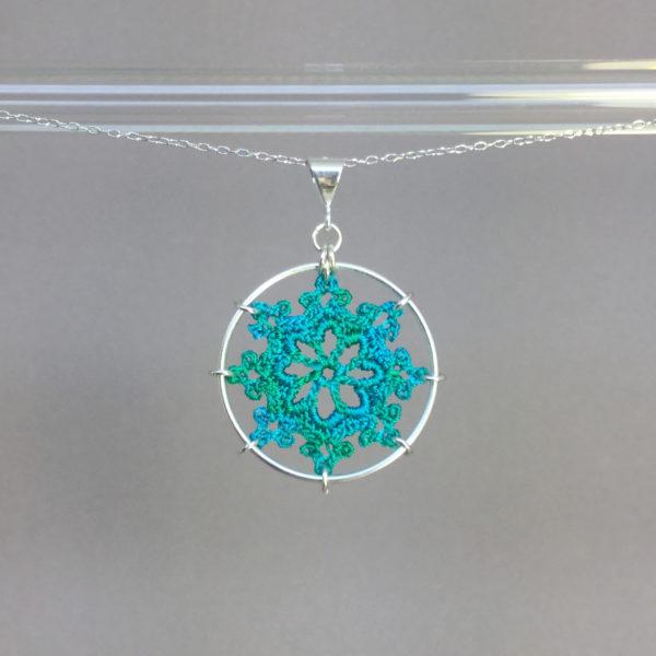 Nautical necklace, silver, shamrock green thread