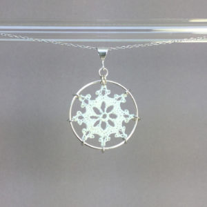 Nautical necklace, silver, white thread