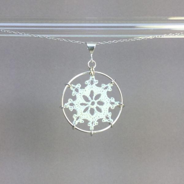 Nautical necklace, silver, white thread