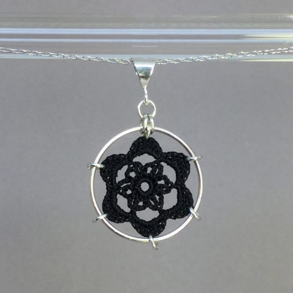 Peony necklace, silver, black thread