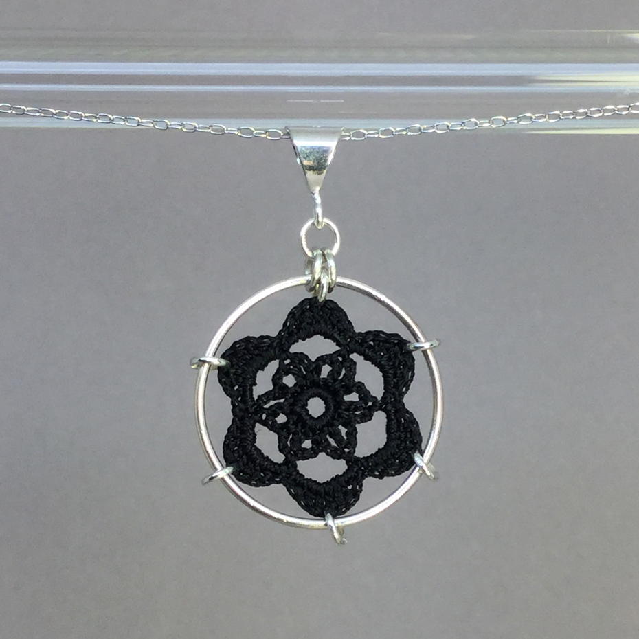 Peony necklace, silver, black thread