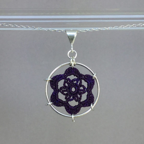 Peony necklace, silver, purple thread