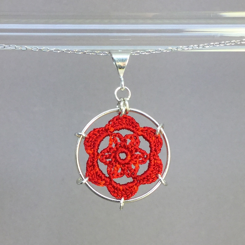 Peony necklace, silver, red thread