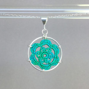 Peony necklace, silver, shamrock green thread