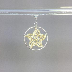 Pinwheel Star necklace, silver, french vanilla thread