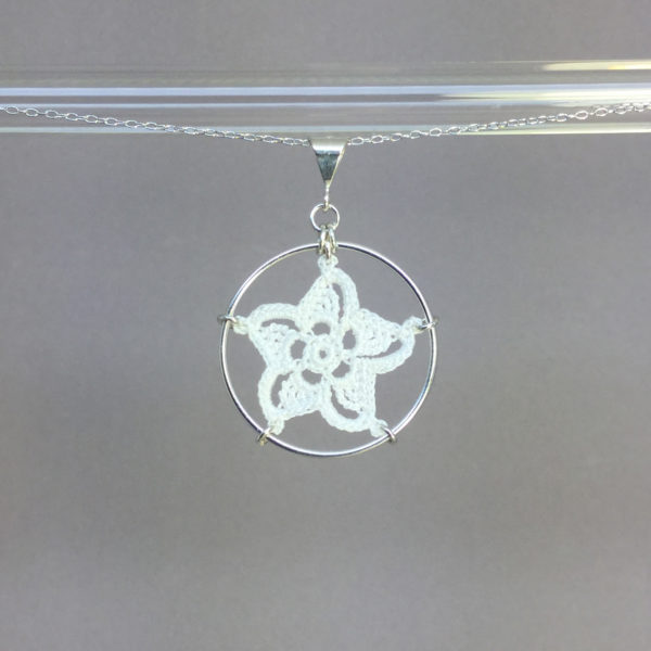 Pinwheel Star necklace, silver, white thread