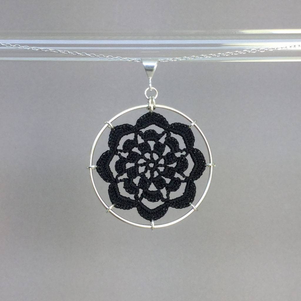 Serendipity necklace, silver, black thread