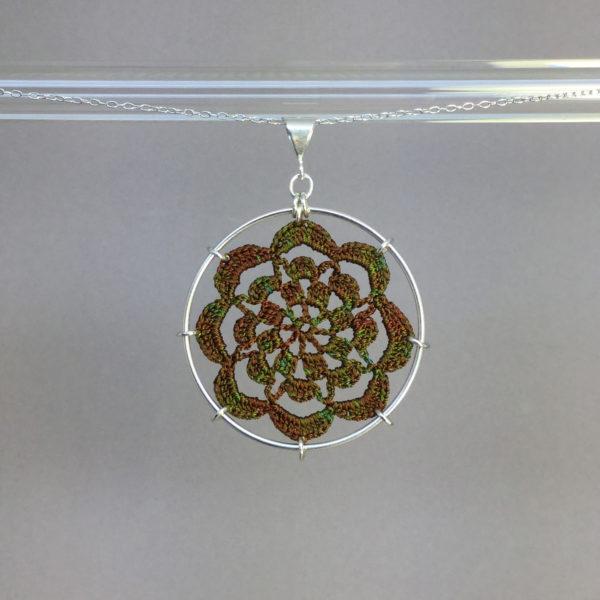 Serendipity necklace, silver, camo thread