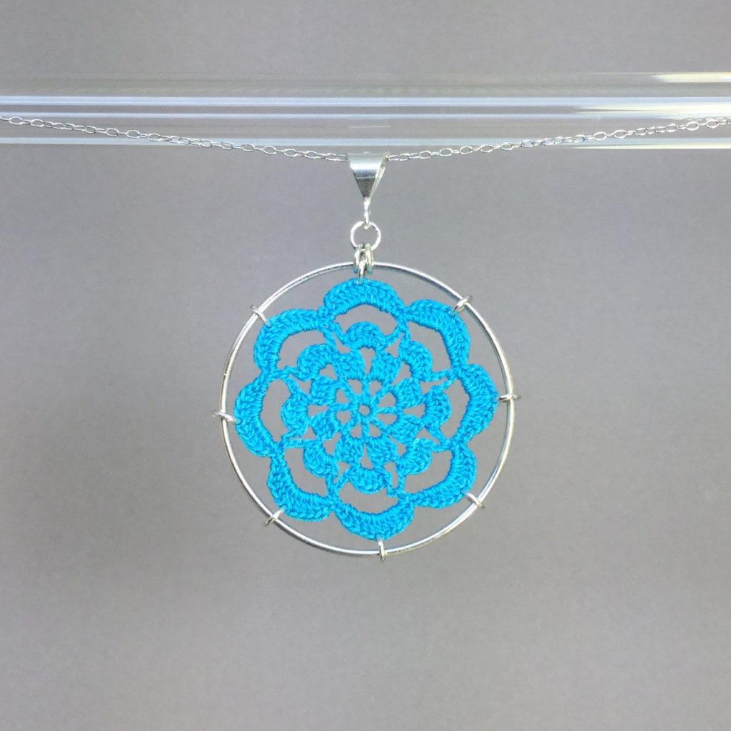 Serendipity necklace, silver, turquoise thread