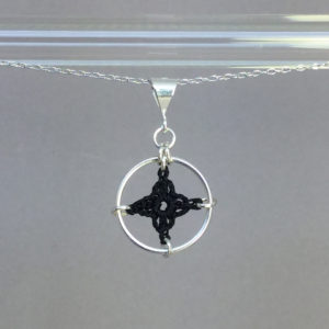 Spangles 1 necklace, silver, black thread