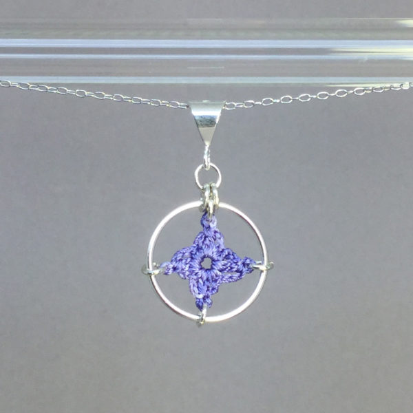 Spangles 1 necklace, silver, lilac thread