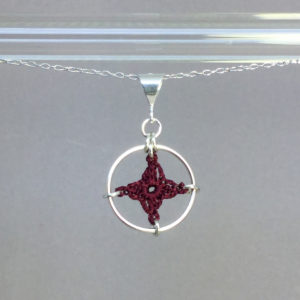 Spangles 1 necklace, silver, maroon thread