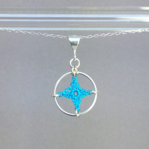 Spangles 1 necklace, silver, turquoise thread