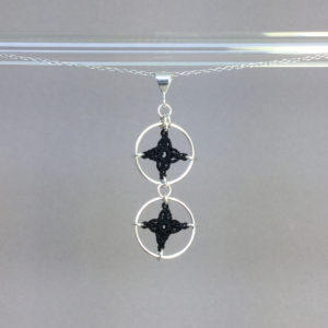 Spangles 2 necklace, silver, black thread