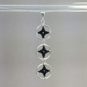 Spangles 3 necklace, silver, black thread