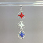 Spangles 3 necklace, silver, red, white and blue thread