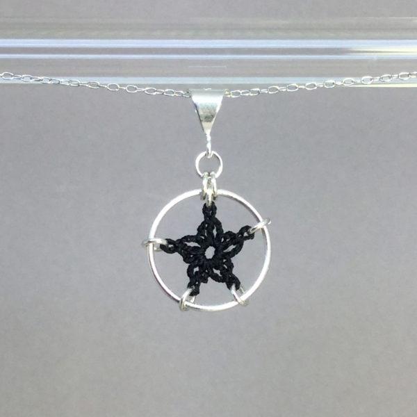 Star necklace, silver, black thread