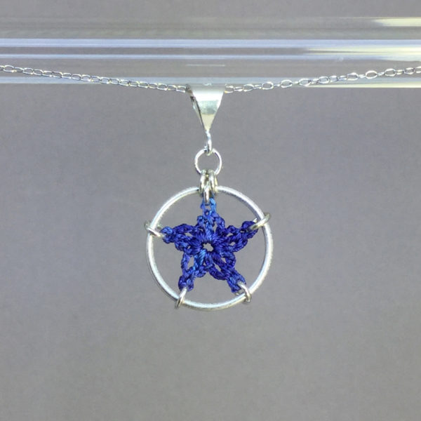 Star necklace, silver, blue thread