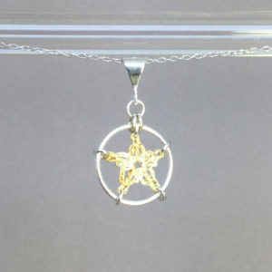 Star necklace, silver, french vanilla thread
