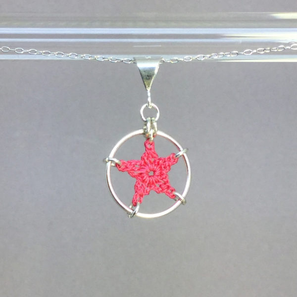 Star necklace, silver, pink thread