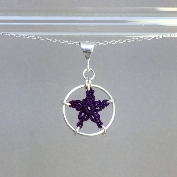 Star necklace, silver, purple thread