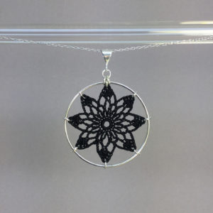 Tavita necklace, silver, black thread