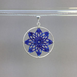 Tavita necklace, silver, blue thread