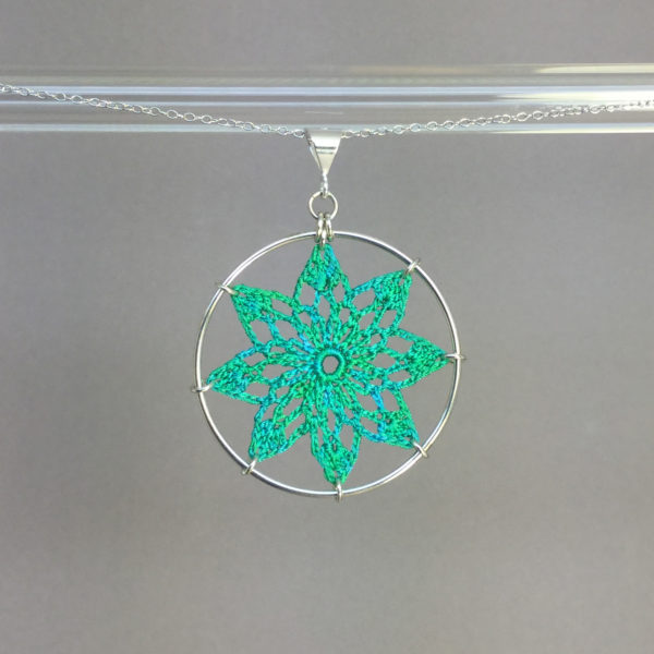 Tavita necklace, silver, shamrock green thread